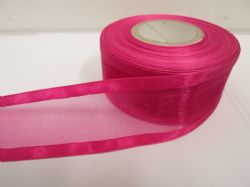 Magenta dark Pink satin edged organza ribbon, 2 or 25 metres, Double sided, 10mm, 15mm, 25mm, 40mm, 70mm